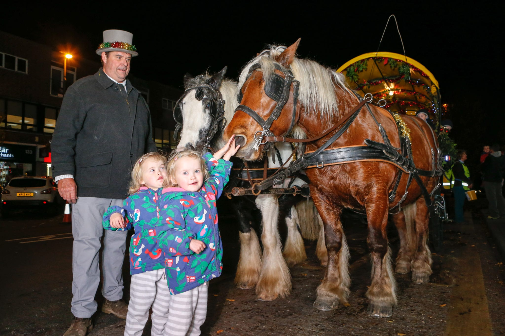 Christmas horses and carriage